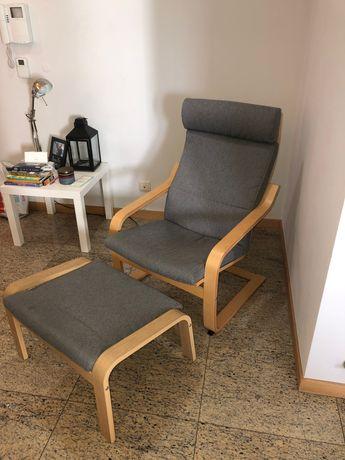 Cadeira de descanso Ikea POANG + Repousa-pés.
