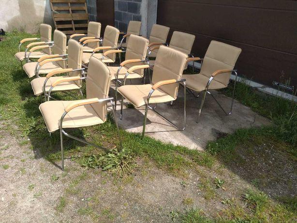 Krzesła konferencyjne Nowy Styl skóra jasny beż okazja