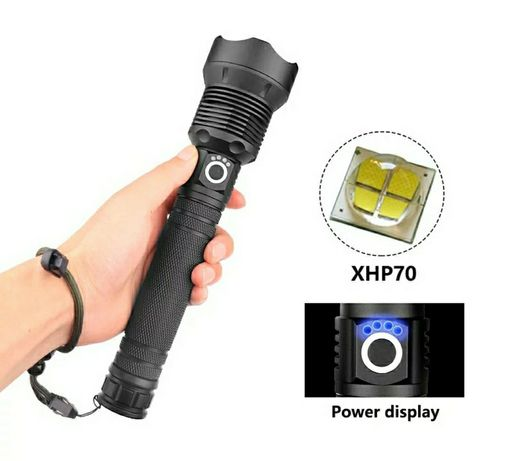 Flashlight XHP70 com 12.000LM (Kit com 2x baterias e carregador) Novo