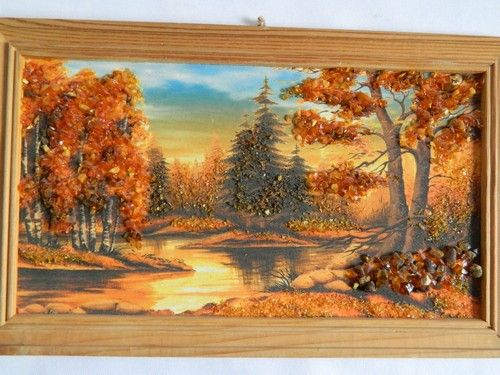 Картина из янтаря, пейзаж.