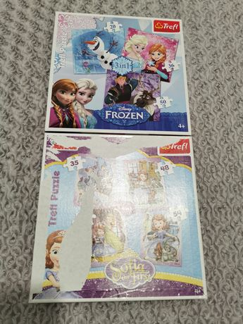 2 x Puzzle Sofia the first i Frozen 4+