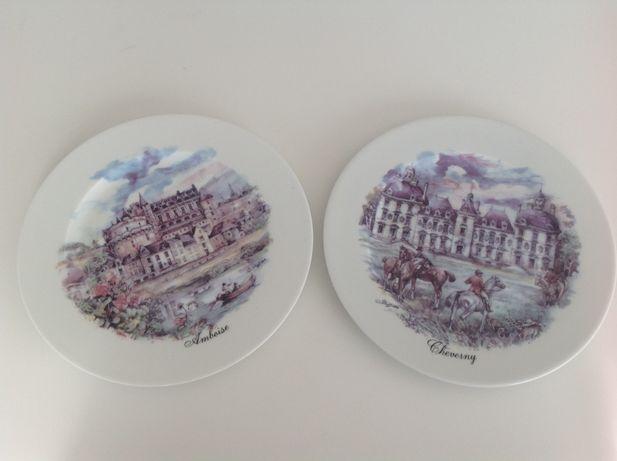 Pratos em porcelana de Limoges Chateaux Loire France