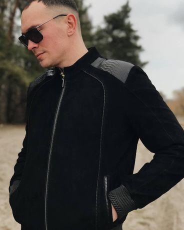 Кожаная куртка из замши и с вставками натурального питона  Zilli Зилли