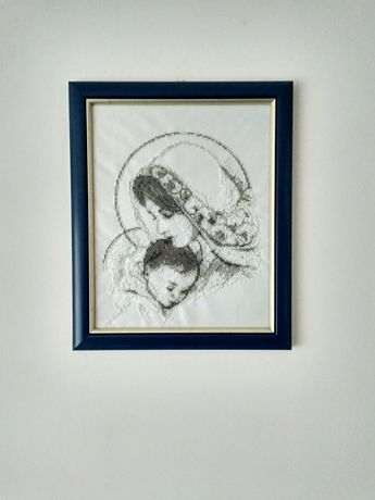 Obraz ręcznie wykonany metodą koralikową Ślub, Chrzest na prezent
