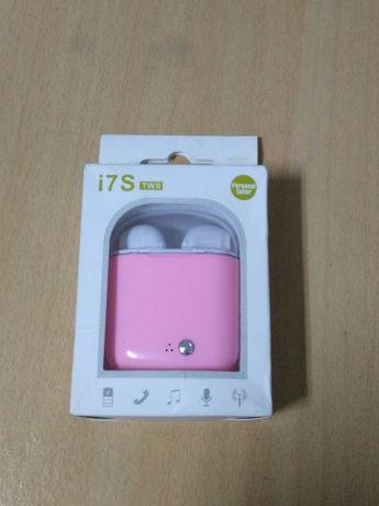 I7s caixa cor de rosa para fones Bluetooth