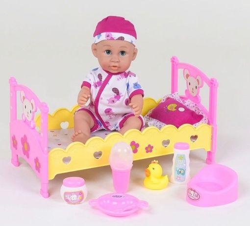 Кукла пупс лялька с кроваткой и аксессуарами, звуковые эффекты
