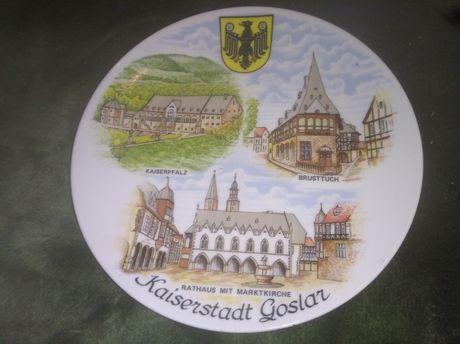 Niemiecki talerz ozdobny miasto bavaria
