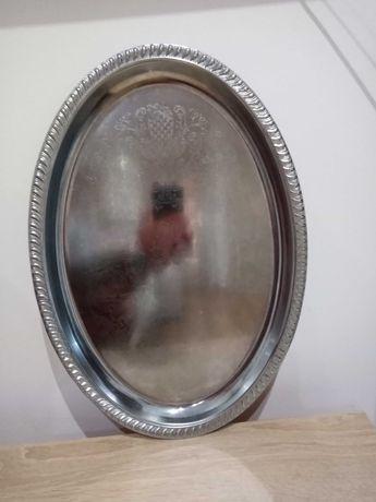 Wielka stara posrebrzana taca. 48 cm.