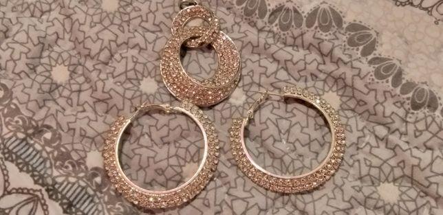 Kolczyki i wisiorek kolor srebro plus kryształki