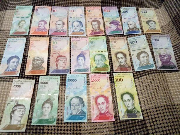 Банкноты Венесуэллы 21шт