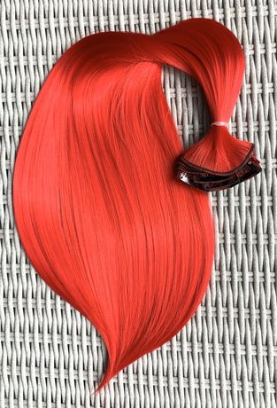 Włosy doczepiane, ognista czerwień, clip in, 16 klipsów ( 101 )