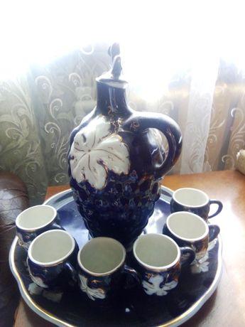 Кувшин с подносом 6 чашек Коростень