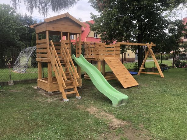 Plac Zabaw drewniany GACEK bocianie gniazdo piaskownica ślizg