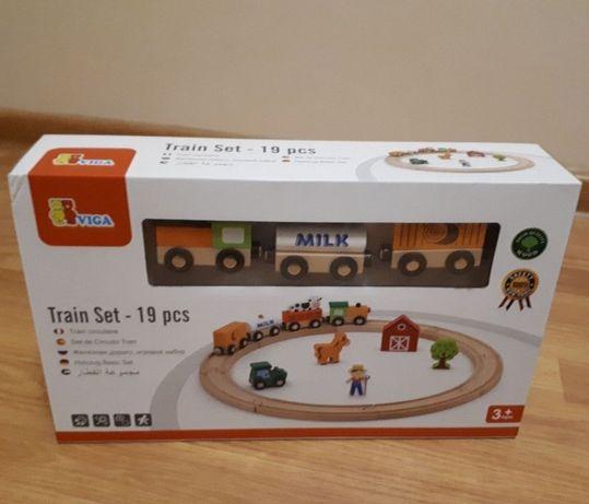 Залізна дорога дерев'яна Viga toys, железная дорога