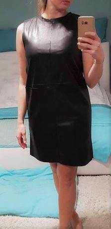 Nowa czarna skórzana sukienka Zara S