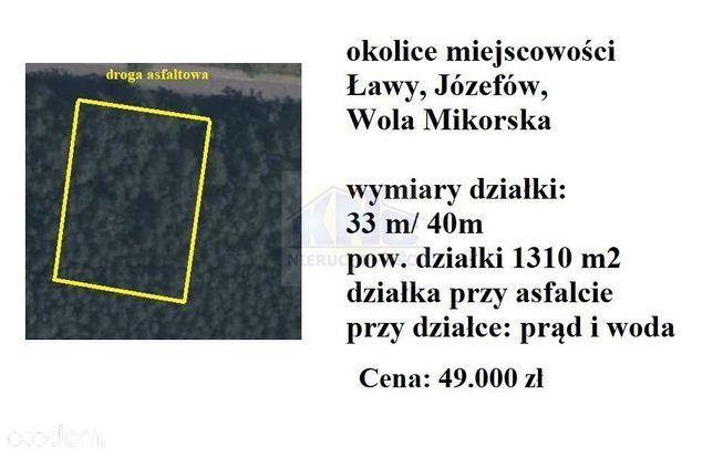 działka około 1310 m2 Józefów, Mikorzyce, Ławy