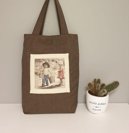 Torba materiałowa, torba na zakupy, shopperka, decoupage, prezent