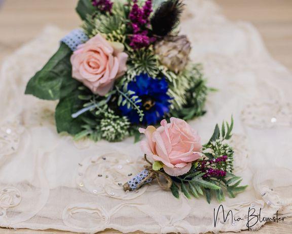 Bukiet do ślubu, rustykalny, kwiaty sztuczne