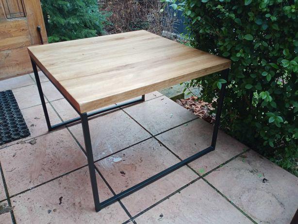 Stolik kawowy loft - Lite grube drewno