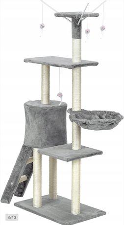 Drapak dla kota wieża legowisko domek szary 5 poziomów