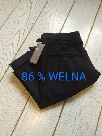 Spodnie garniturowe H&M 54 wełniane eleganckie męskie wełna