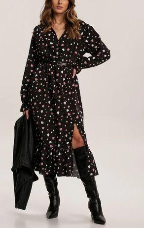 Czarna sukienka w serduszka midi rozmiar uni od S-L Renee