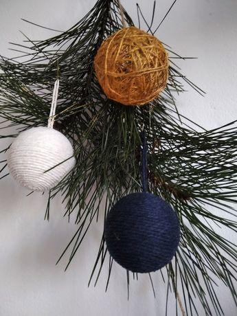 Bombki choinkowe 6 sztuk - dekoracje świąteczne hand made ze sznurka
