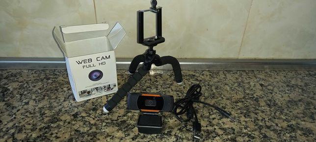 Web cam Full HD 1080p + tripé + comando