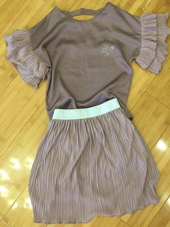 Костюм нарядный летний юбка святковий одяг блузка спідниця 134 размер