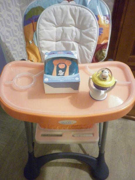 Стульчик для кормления Wonder Kids + набор посуды Bibi+ корова Chicco