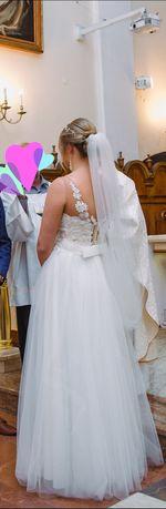 Suknia ślubna + koło średniej średnicy+ długi welon