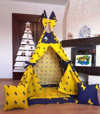 Вигвам Шатер Палатка молния желтого цвета,домик игровой