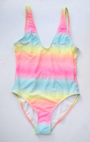Strój Kostium Kąpielowy NOWY Ombre BooHoo M 38 Kolorowy Tęcza Zara H&M