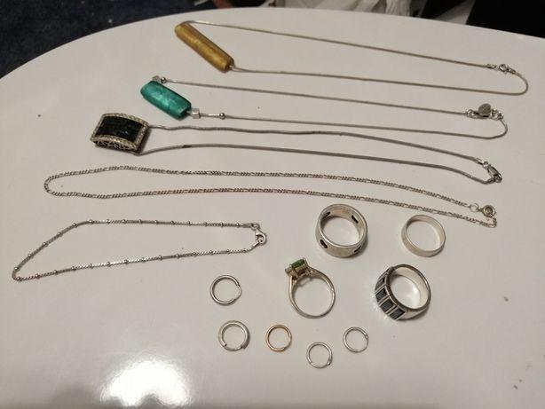 Anel prata , fio, argolas, colheres prata . Troco por material btt
