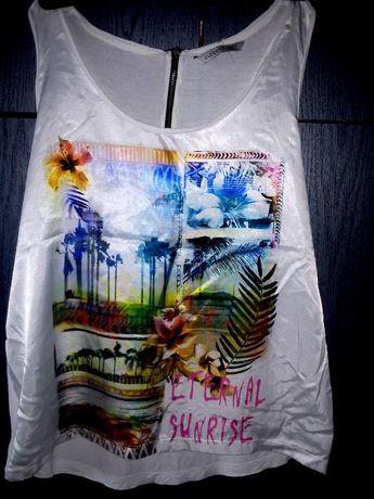 Blogerska satynowa koszulka oversize 2XL Clockhouse nadruk z zipem
