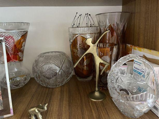 Kryształy kryształowe wazony i koszyk