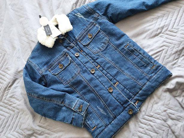 Reserved kurtka jeans ocieplana 128 nowa