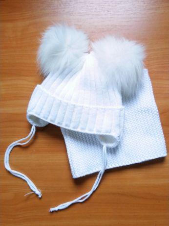 Зимняя шапочка на флисе и шарф