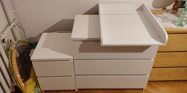 Komoda MALM 3 szuflady z przewijakiem + mała komoda/stolik nocny