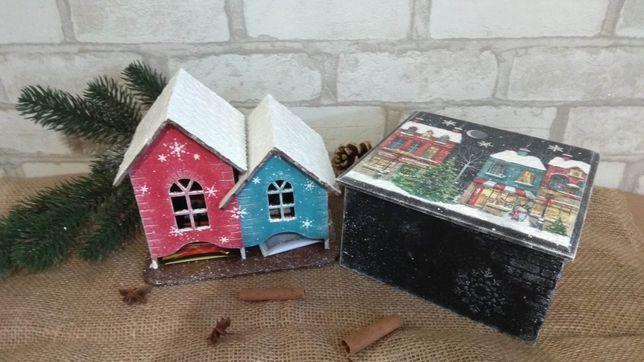 """Чайный домик и шкатулка """"Рождественская ночь"""",декупаж,ручная работа"""
