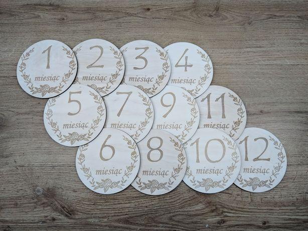 Drewniane karty do zdjęć dziecka lub ciążowych. 12 miesięcy.