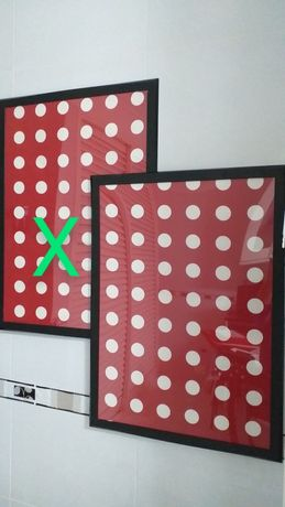 Molduras / de vidro, pretas, vermelhas