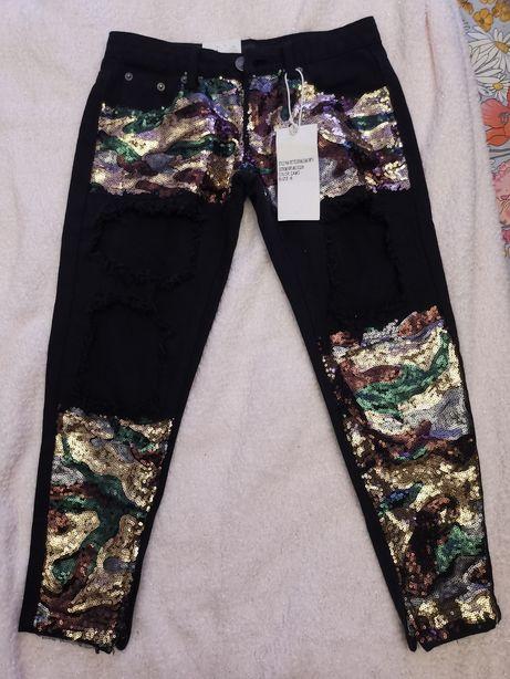 Nowe spodnie z cekinami, moro liquor n poker