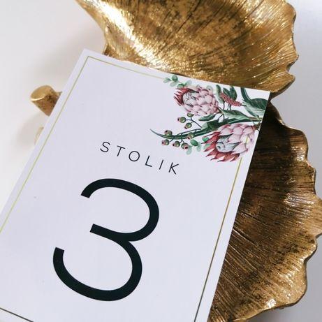 Numerki na stół weselny z kwiatami srebrnika PUDROWY RÓŻ