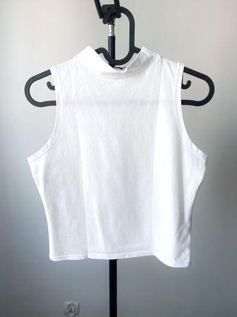 ASOS: Biała krótka bluzka półgolf rozm L crop top bez rękawków basic g