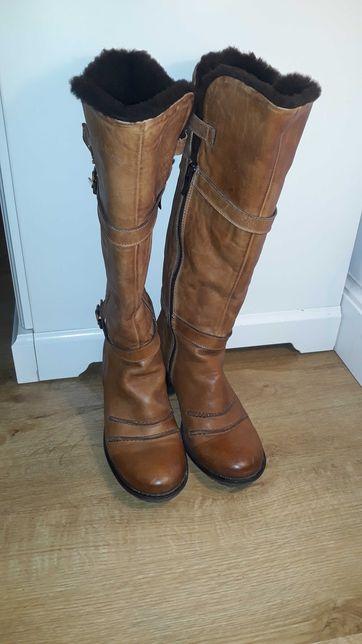 Włoskie buty skórzane rozmiar 38 zimowe