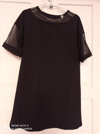 Плаття чорне з шифоновими вставками