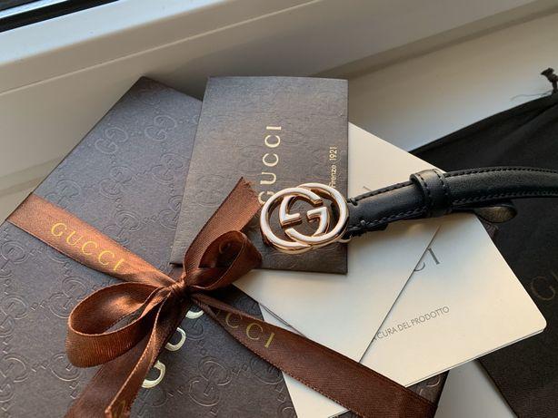 Gucci pasek GG czarny cienki 95 XS S Premium etui pudełko lv złoty