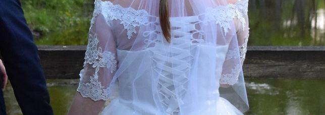 suknia ślubna koronka rękaw M 38 40