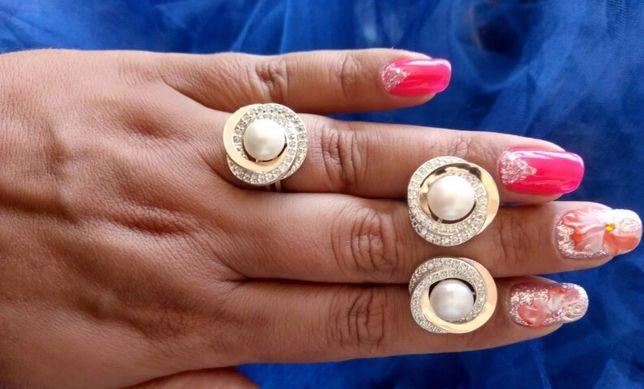 Набор золото с серебром кольцо серьги золотые пластины apple watch